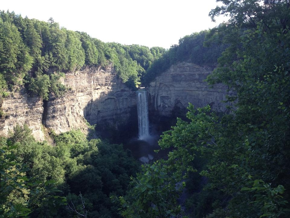 Free Taughannock falls roaring after summer thaw near Ithaca, New York