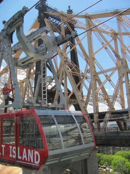Free Roosevelt Island cable tram car  in Manhattan, New York