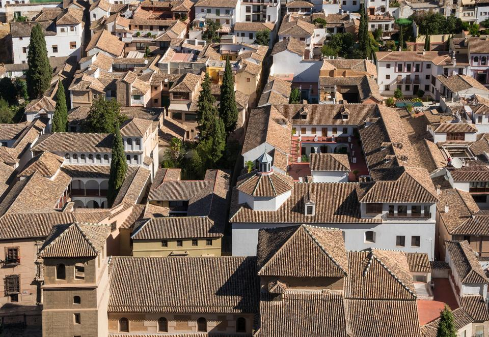 Free Tiled roofs of patrician houses Granada, Spain