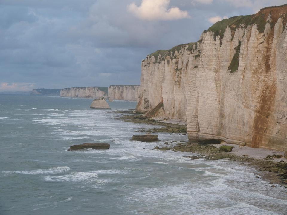 Free Chalk cliffs at Cote d'Albatre. Etretat, France