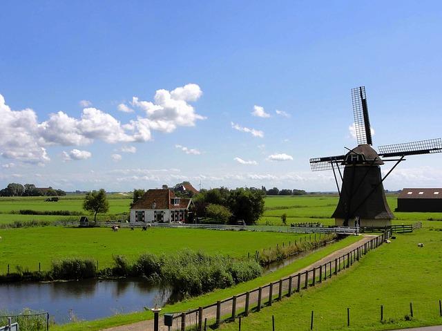 Free               netherlands landscape sky clouds windmill house