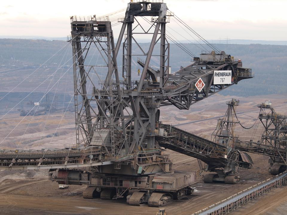 Free Bucket- wheel excavator closeup in the open-pit mine