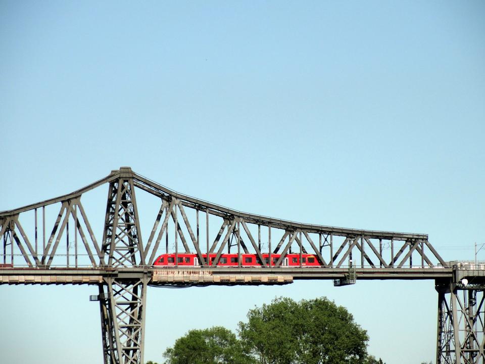 Free Famous railway bridge over Kiel canal in Rendsburg, Germany