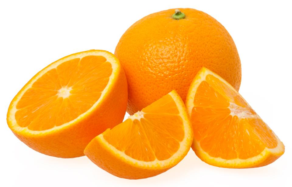 Free three pieces of orange isolated on white