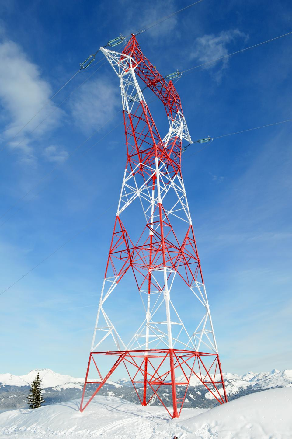 Free Electricity pylons on winter day