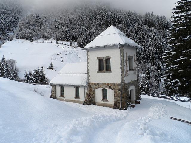Free austria chapel building winter snow ice forest