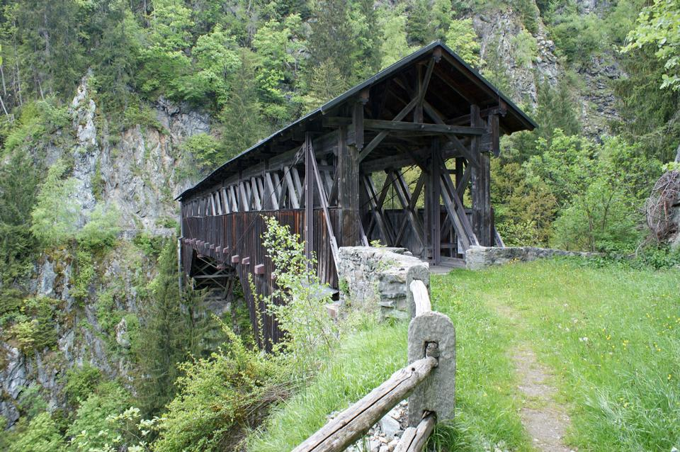 Free Punt Russein bridge in Disentis Switzerland