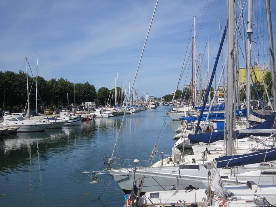 Free Yachts on the quay at the port of Rimini, Italy