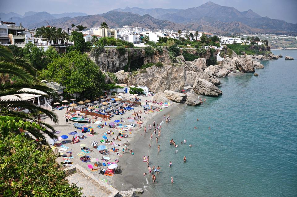 Free Calahonda beach in the Balcon de Europa in Nerja