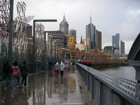 Free Landscape of Melbourne's Sandridge Bridge on a rainy day