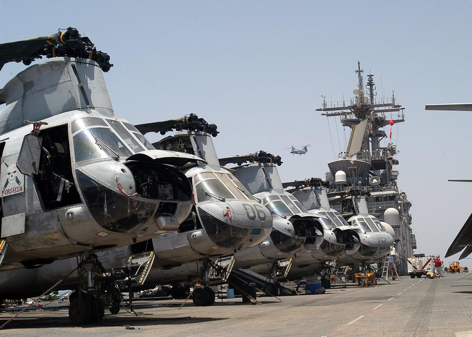 Free CH-46 Sea Knight helicopters assigned to the Blue Knights