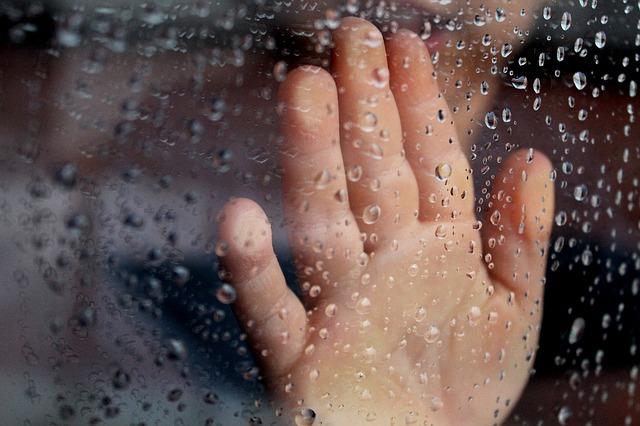 Free glass rainy window hand shadow rainy rainy day