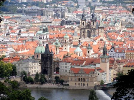 Free old town and Prague castle with river Vltava, Czech