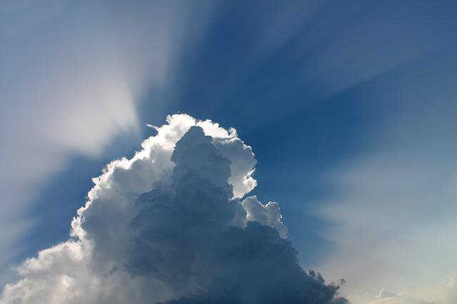 Free               cloud clouds sky blue sky space rays of sunshine
