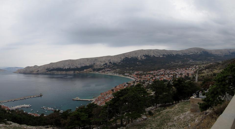 Free Adriatic Town of Baska aerial panorama, Island Krk, Croatia