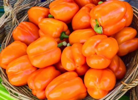 Free colorful bell peppers, natural background
