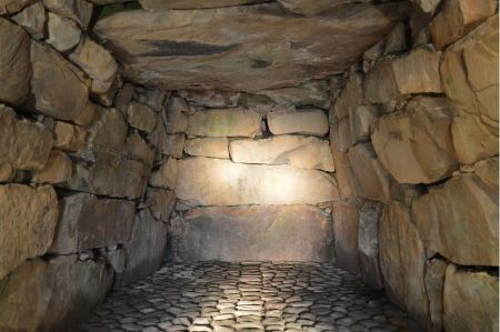 Free interior of ancient tomb or dwelling in sandstone cave