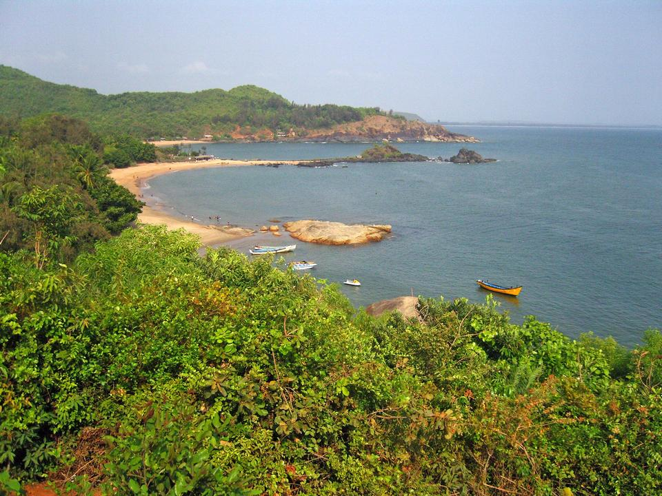 Free Om Beach. Natural coastline forms the main symbol of Hinduism