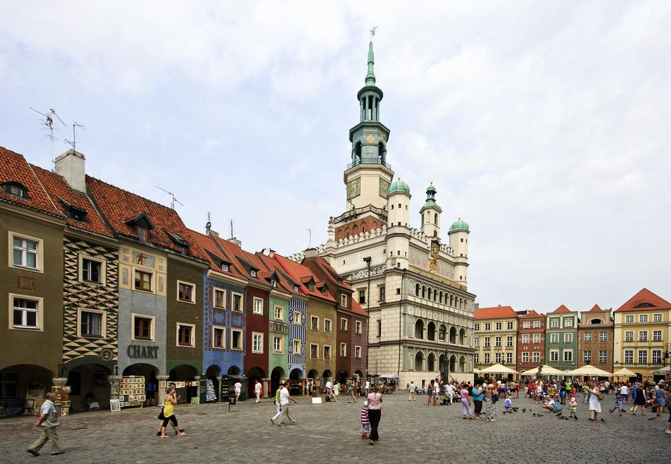 Free main market square in the old town of Poznan