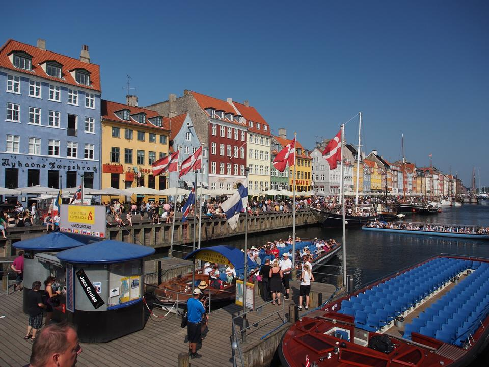 Free Copenhagen Nyhavn district in a sunny summer day