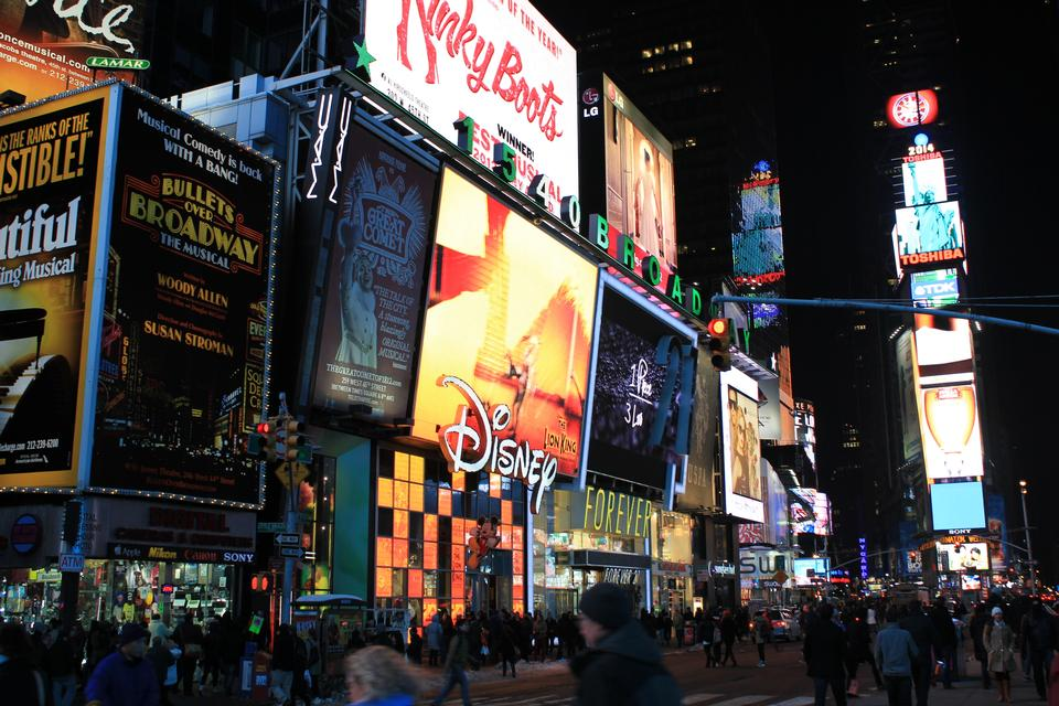 Free Illuminated facades of Broadway theaters in Times Square, NYC