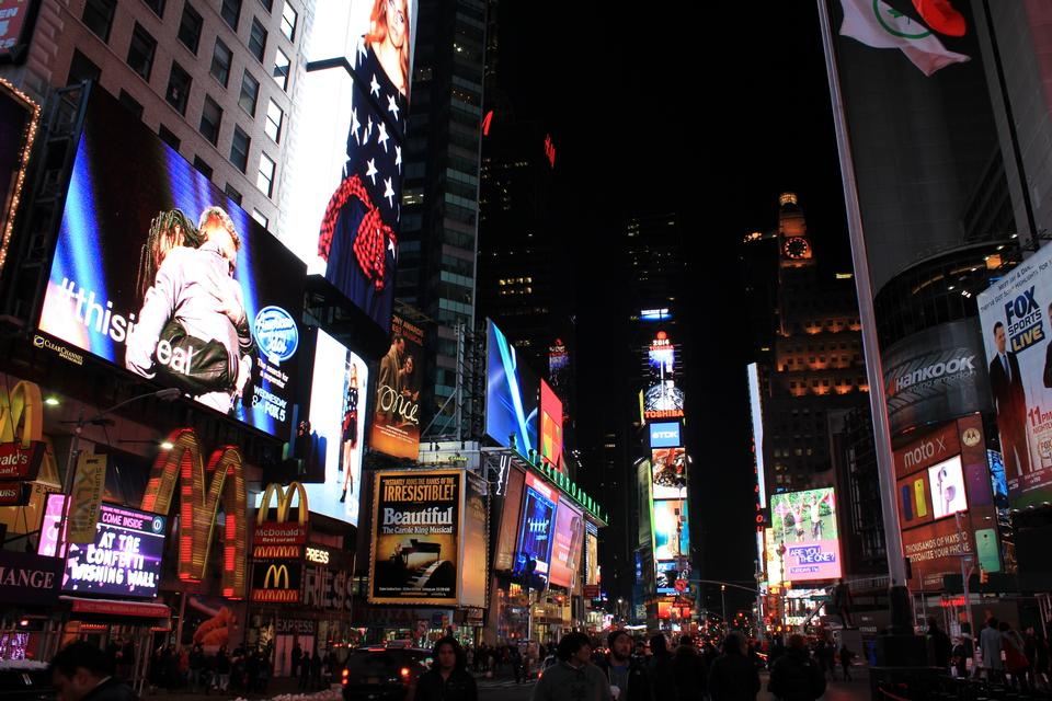 Free Times Square ,is a busy tourist intersection of neon art