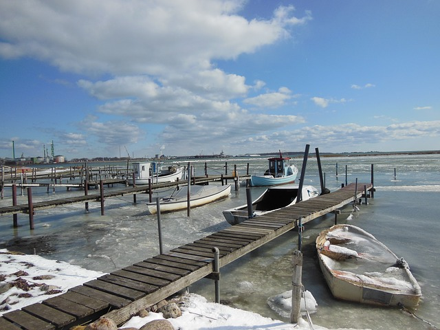 Free natural harbor jetty ice water winter blue sky
