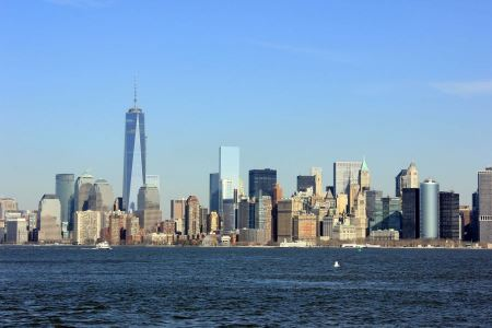 Free New York City panorama with Manhattan Skyline over Hudson River