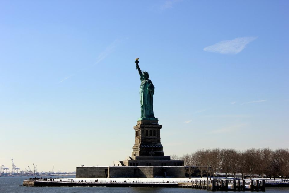 Free Landscape panoramic view of The Statue of Liberty