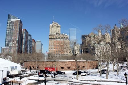 Free Memorial Walk at Battery Park under december's snow