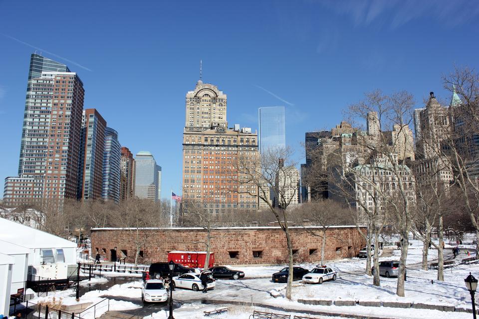 Free Memorial Walk at Battery Park under december's snow