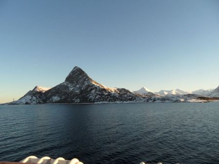 Free Morning glory in Norwegian cruise. Mountain seascape
