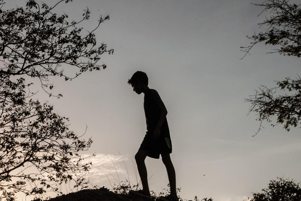 Free Child climbing Silhouette