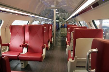 Free Interior of a passenger train with empty seats
