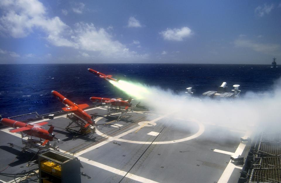 Free A target drone is fired off the flight deck