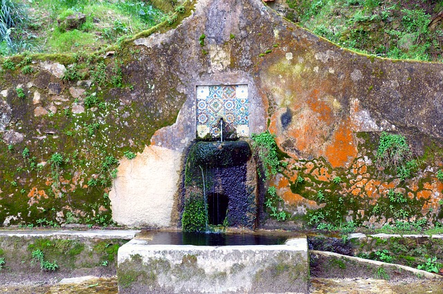 Free old well weathering fountain colorful sintra