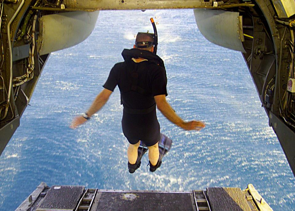 Free jumps off the back end of a CH-46 Sea Knight