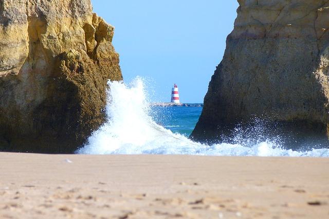 Free lighthouse wave rock coast sea algarve