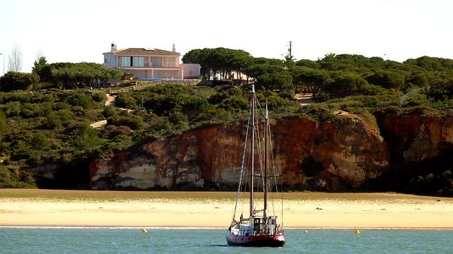 Free sailing vessel coast beach rock sea water algarve