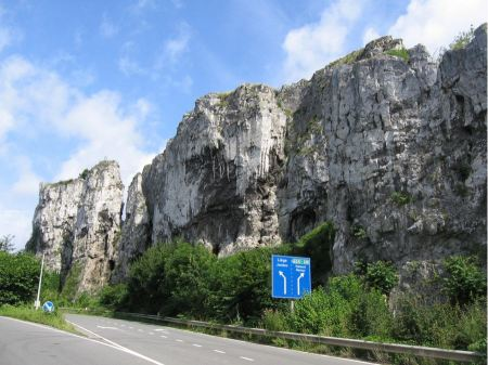 Free road along the Grands-Malades rocks in france