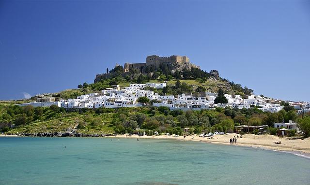 Free rhodes greece castle landmark hill architecture