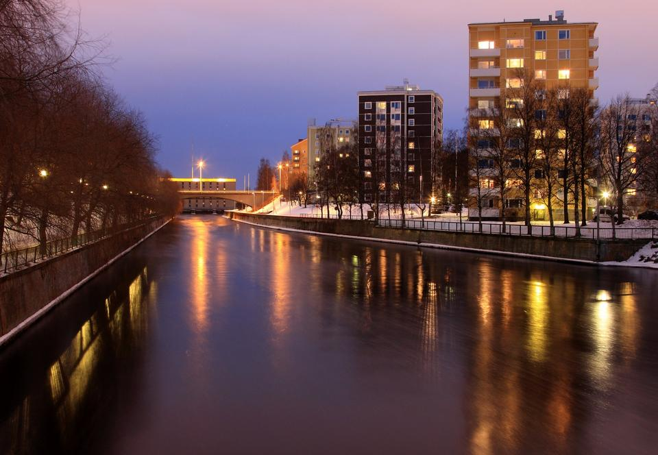 Free Calm night view in Oulu, Finland