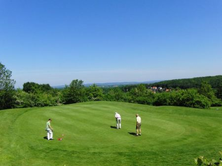 Free green golf course and blue sky