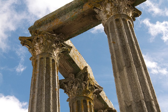 Free building ancient times roman pillars old sky