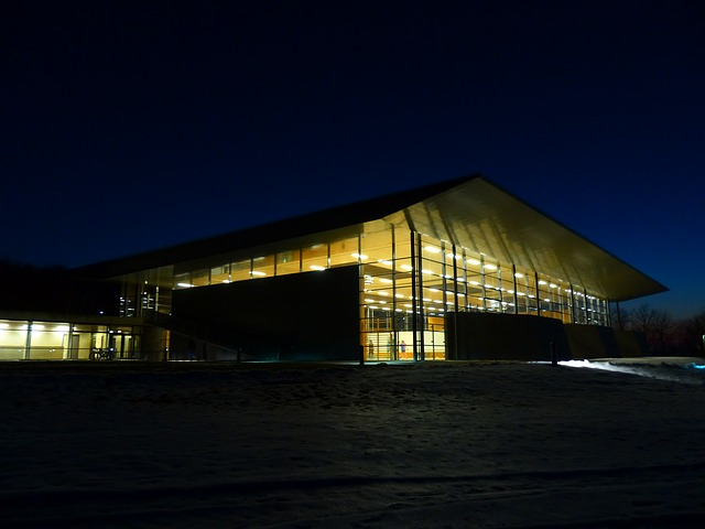 Free sports hall gym sports center lighting at night