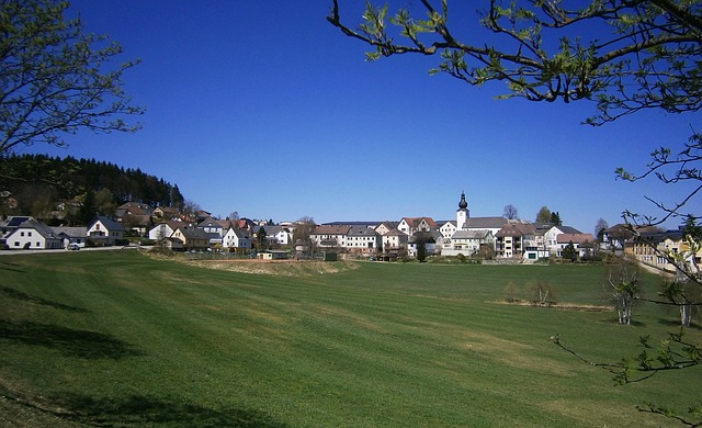 Free liebenau austria village buildings sky clouds