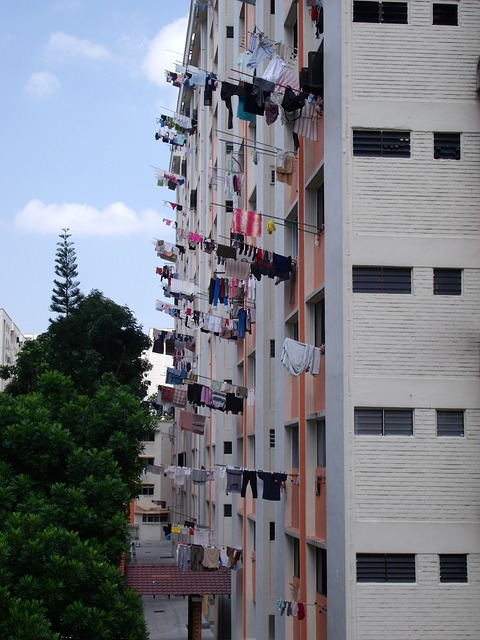 Free singapore laundry drying building facade sky