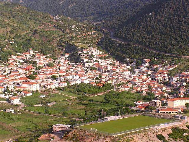 Free kyriaki greece town village buildings mountains