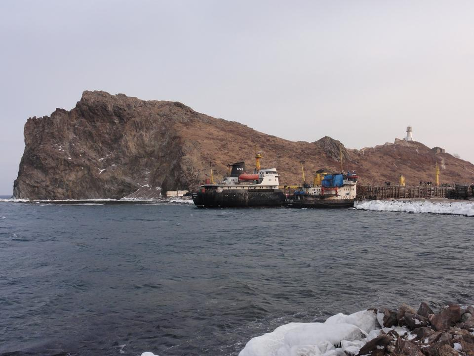 Free Cargo ship in harbor russia