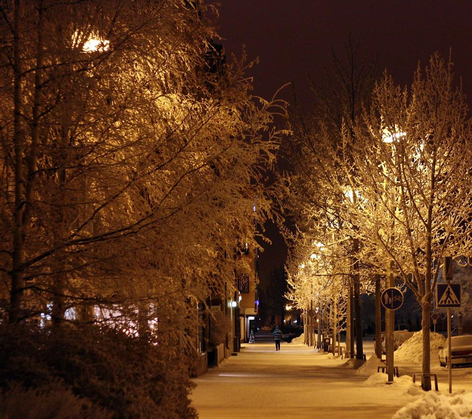Free Street covered with snow at night